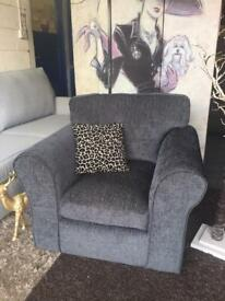 New Nala Fabric Compact Armchair In Charcoal Grey
