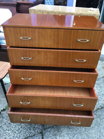 Fine Mid Century Vintage Teak Tallboy Chest of 5 Drawers 1960's