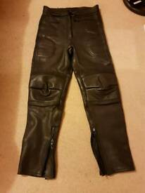 Ladies leather bike trousers