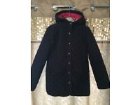 Girls navy quilted joules jacket age 11-12