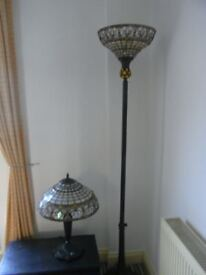 Tiffany Standard Lamp and Matching Table Lamp
