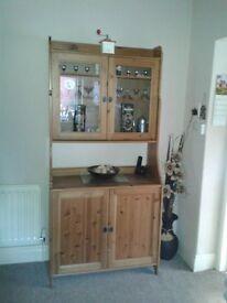 Ikea Billy Kitchen Dresser with glazed top doors