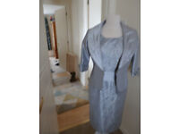 Gorgeous Zeila mother of the bride outfit Silver light grey lace dress with lining and Jacket