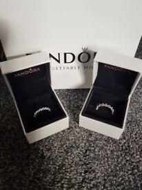 Two genuine size 52 pandora rings