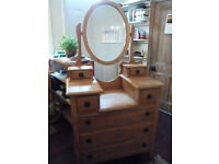 Victorian Style Pine Dressing Table with tilting mirror