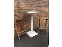 Garden metal high table and fold away high chair