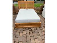 Solid pine double bed with clean thick foam mattress