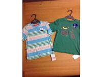 BRAND NEW MOTHERCARE 2 x Boys T-shirts, Green 'Chopper' & Multi Stripes, 2-3 Years