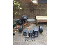 vinyl weights 90.7kg includes barbell and dumbells