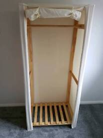 Single Wooden Wardrobe with Cream Cover