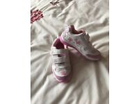 Girls white/pink trainers 10