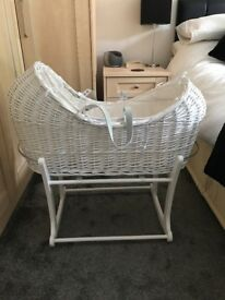 White wicker Moses basket & Rocker stand.