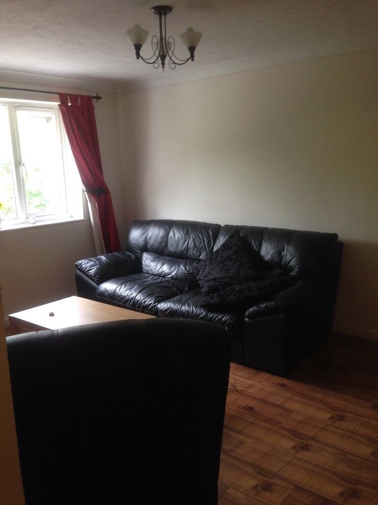 Real leather black, three seater sofa and recliner armchair. Excellent quality.
