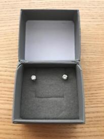 2/3 Carat diamond earrings on 9k w gold studs unworn