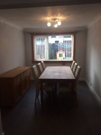 Solid oak sideboard, Table and 6 chairs