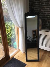 Black antique style dress mirror