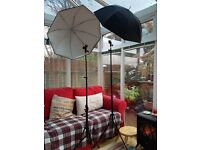 Manfrotto lighting stand and approx 30 inch Lastolite see through / reflective umbrella