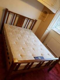 Solid wood double bed with mattress