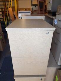 Oak effect office 2 drawer filing cabinet pedestal on casters