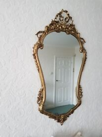 Ornate Gold Metal Wall Mirror.