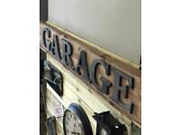 Rustic heavy wood sign GARAGE or VINTAGE Fantastic man cave sign.£80 Each.