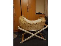 Wicker bassinet/moses basket for sale