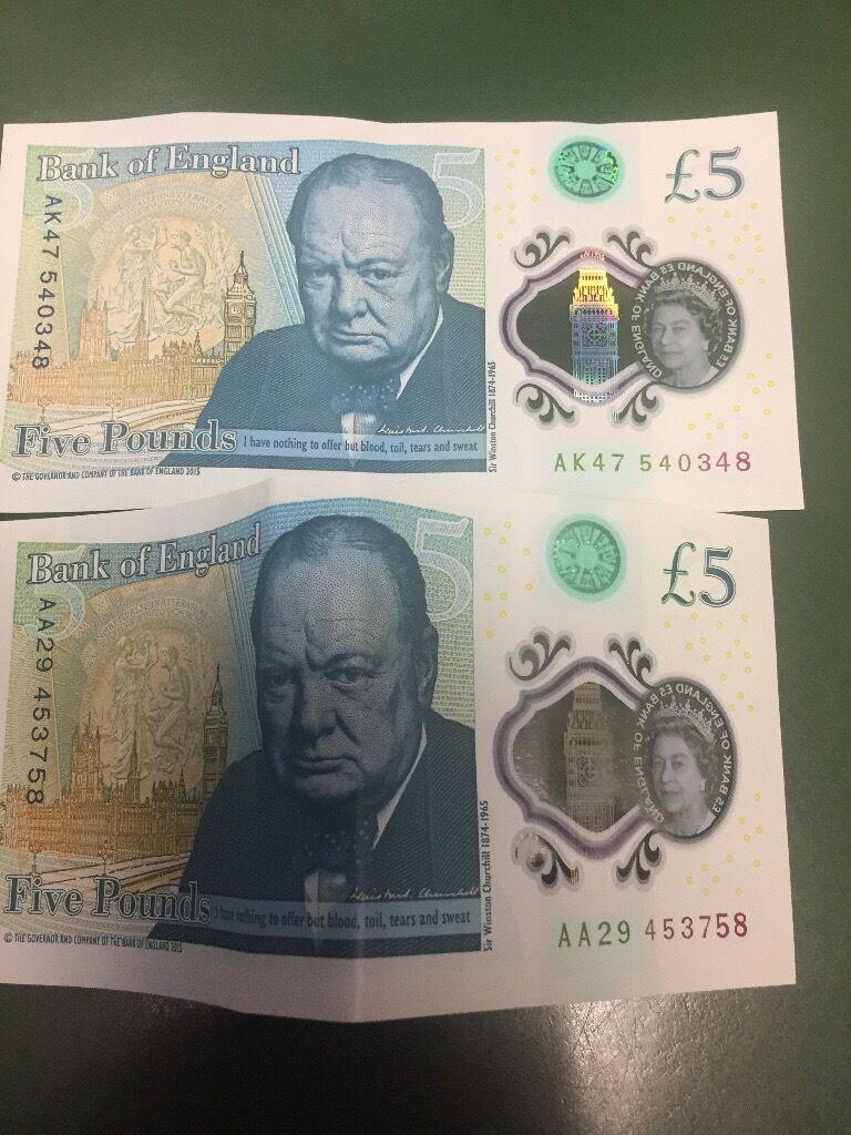 £5 note Aa29 and Ak47