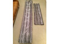 Next lined eyelet curtains, grey / silver wave pattern 135 x 137