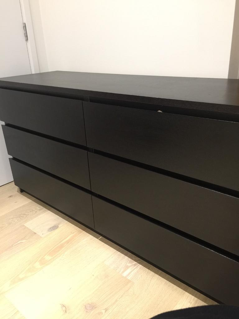 Ikea Malm Black Long Chest Of Drawers