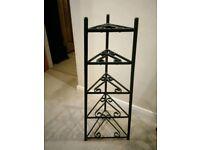 black vintage 5 tier pan stand