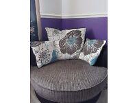 Black & Grey Fabric Swivel Cuddle Chair