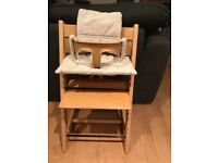 Stokke Tripp Trapp highchair natural with baby set, baby harness beige and beige striped cushions
