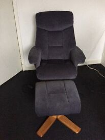 exmouth charcoal velour massage chair and footstool