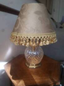 CUT GLASS CRYSTAL TABLE LAMP & SHADE GOOD WORKING ORDER