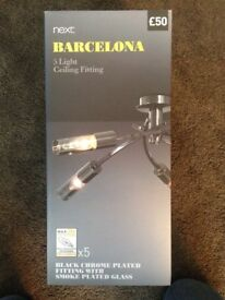 Next - Barcelona 5 Light Ceiling Fittings - Black Chrome Plated