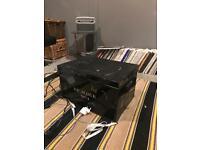 Vintage black metal chest trunk storage box tin trunk