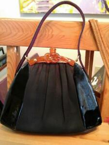 Rare WALDYBAG Waldy Bag Mid-Century Handle Black Suede LUCITE Purse Made in UK United Kingdom England Britain