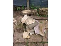 Garden blocks/broken patios slabs/brick wall/concrete from fence posts sunk into ground