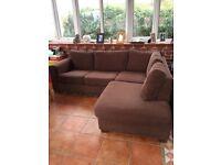 Brown textile corner sofa
