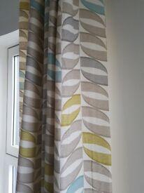 Scandinavian geometrical grey blue yellow curtains 90 x 90