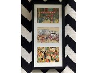 Tintin - 3 Postcard Prints - Framed