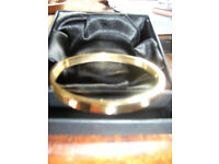 New Fifth NYC Gold Plated Love Bangle in layered box