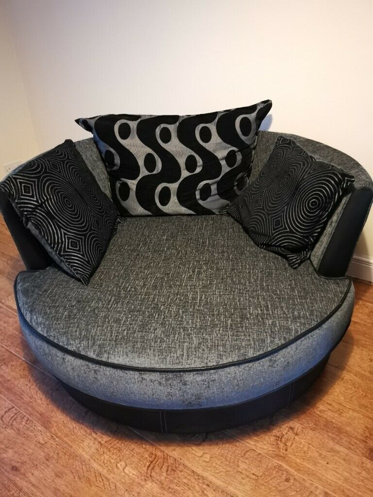 Black and grey fabric swivel cuddle chair. | in Plymouth ...