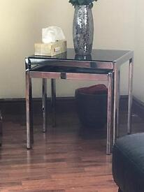 One Large GLASS Coffee Table and Two Side Tables USED