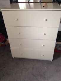 White Ikea chest of drawers.