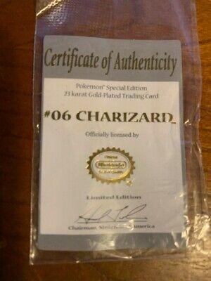 CHARIZARD #06 Pokemon 23 Karat Gold-Plated Trading Card Special Edition COA