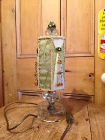 Decorative Victorian style table lamp. On Glass base. Beaded Lamp shade.