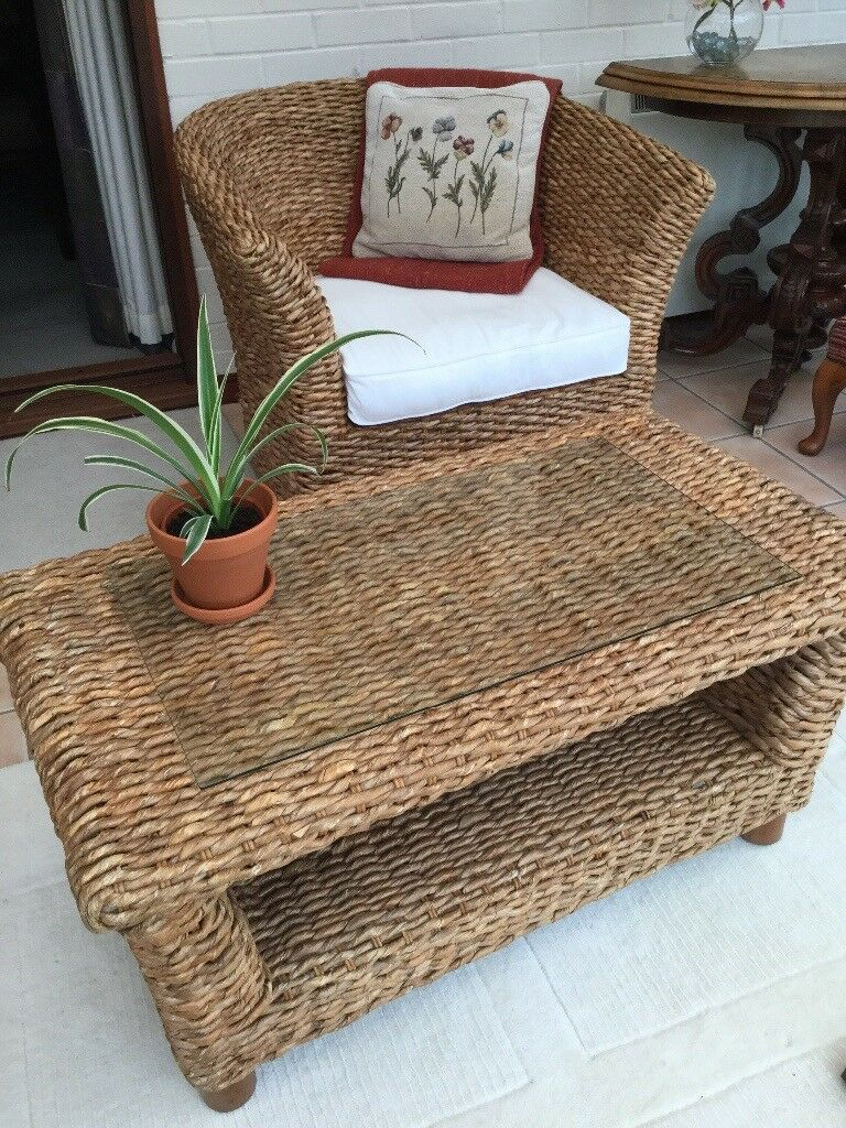 Unusual Woven Banana Leaf Winged Tub Chair Coffee Table From The - Banana leaf coffee table
