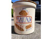 Large cream porcelain bread storage bin