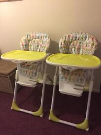 Two Joie high chairs.